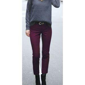 ANN TAYLOR signature crop pants slacks plum size 4